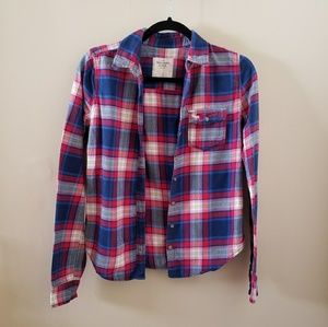 Abercrombie and Fitch Small Plaid Button Down Blou